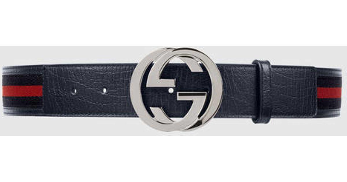 4d5919c4c028 Gucci Web Belt With Interlocking G in Blue - Lyst