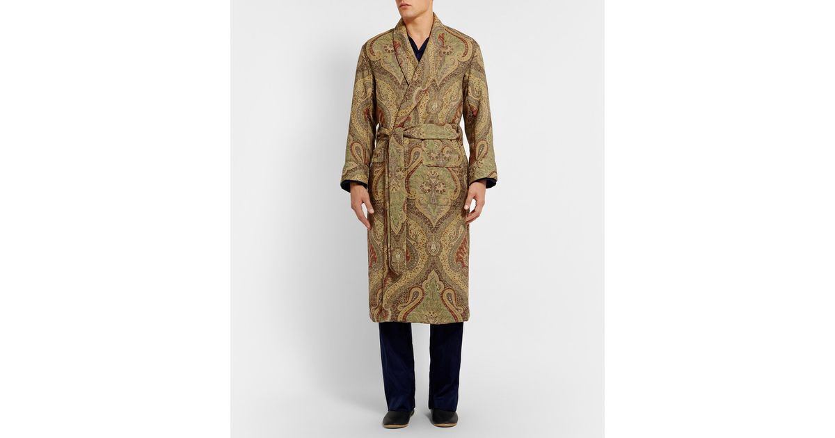 Lyst - Emma Willis Paisley Woven-wool Dressing Gown in Green for Men