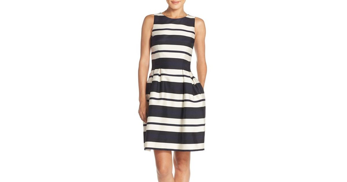 6c64105d81ab Vince Camuto Stripe Organza Fit & Flare Dress in Blue - Lyst
