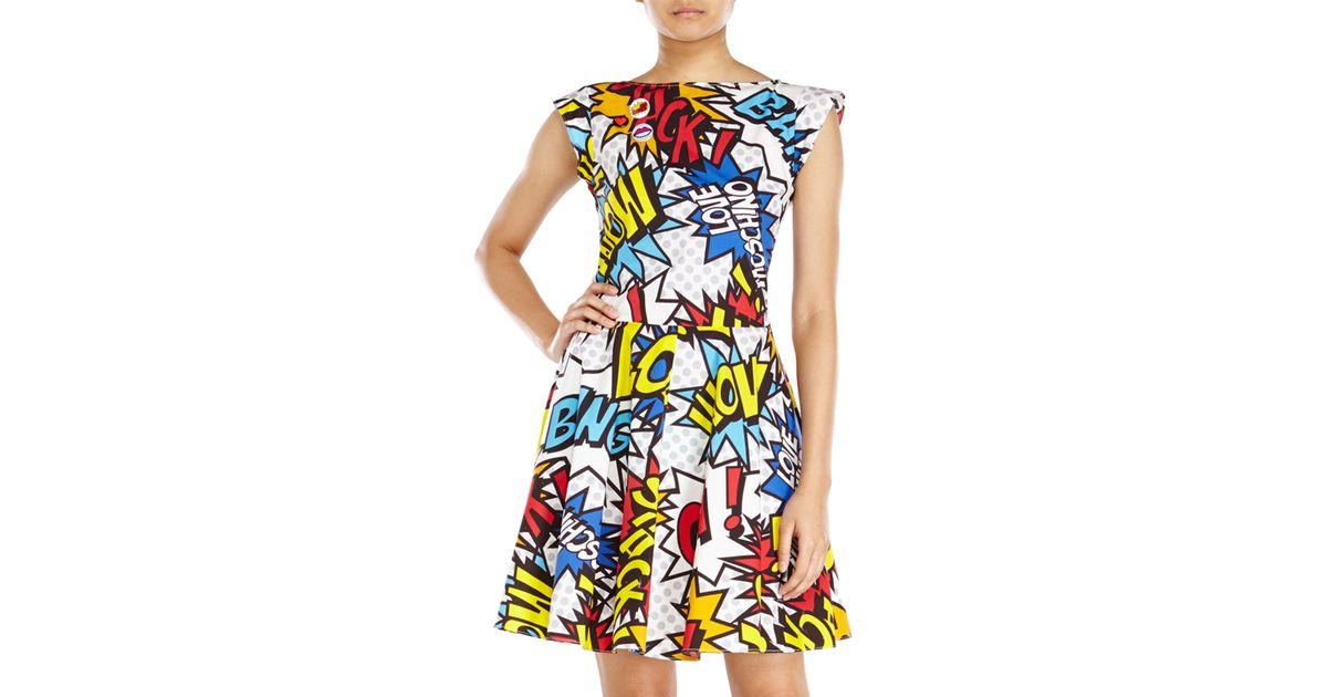 4e49f42ca27 Love Moschino Comic Print Dress in White - Lyst