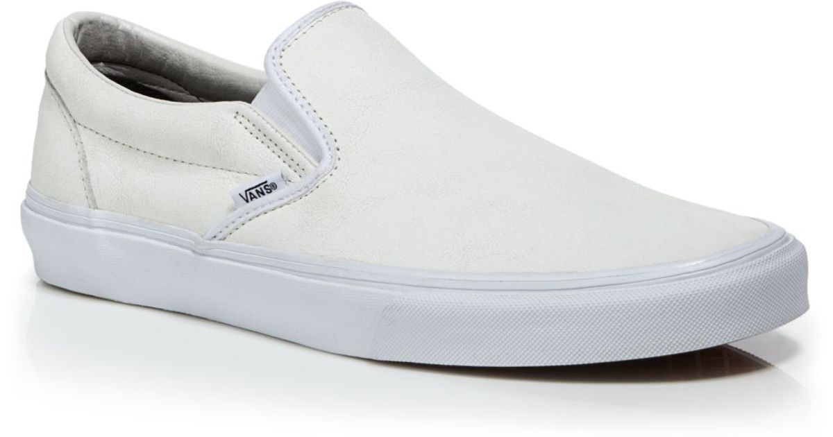 Lyst - Vans Crackle Leather Classic Slip On Sneakers in White for Men 52becccd8