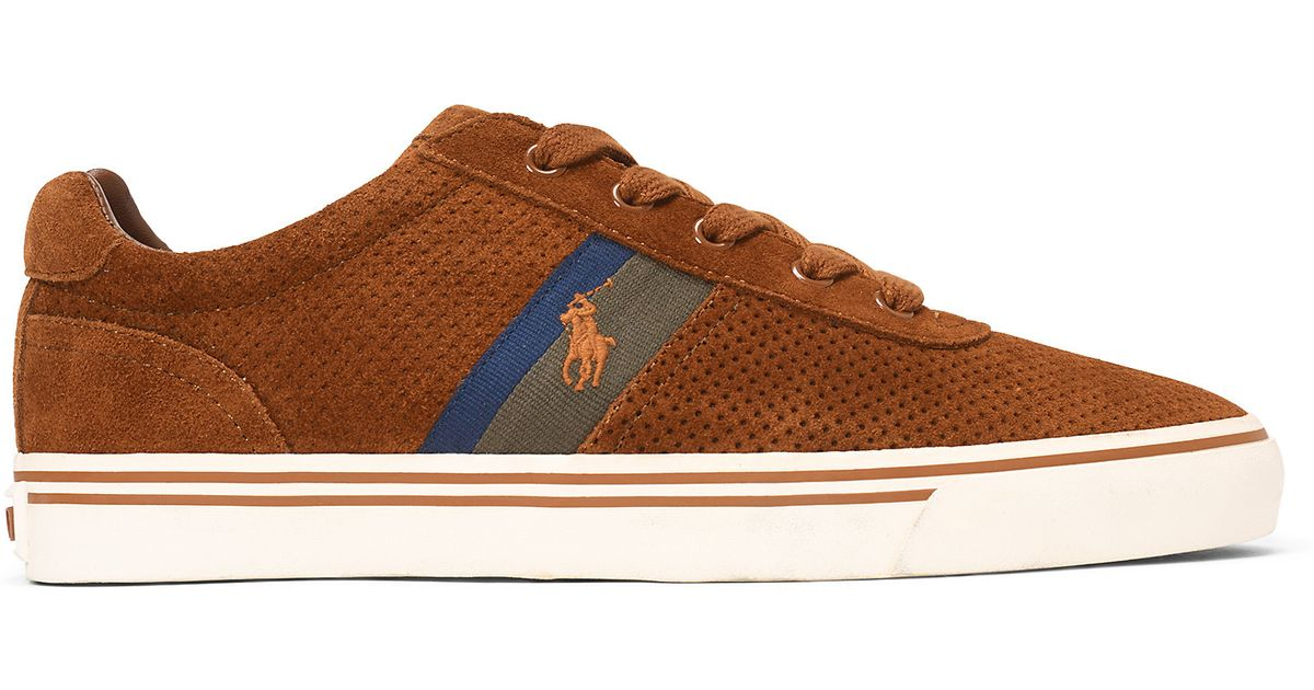 e0fe59de415 Lyst - Polo Ralph Lauren Hanford Perforated Sneaker in Natural for Men