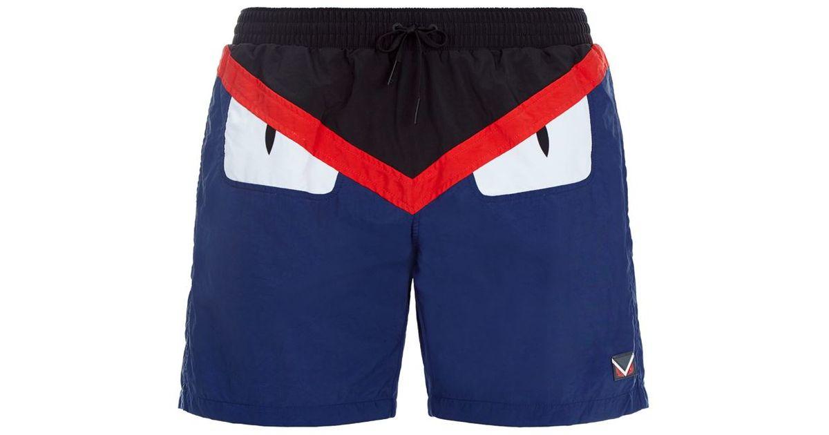 f3f7cf29ea Fendi Monster Eyes Swim Shorts in Red for Men - Lyst