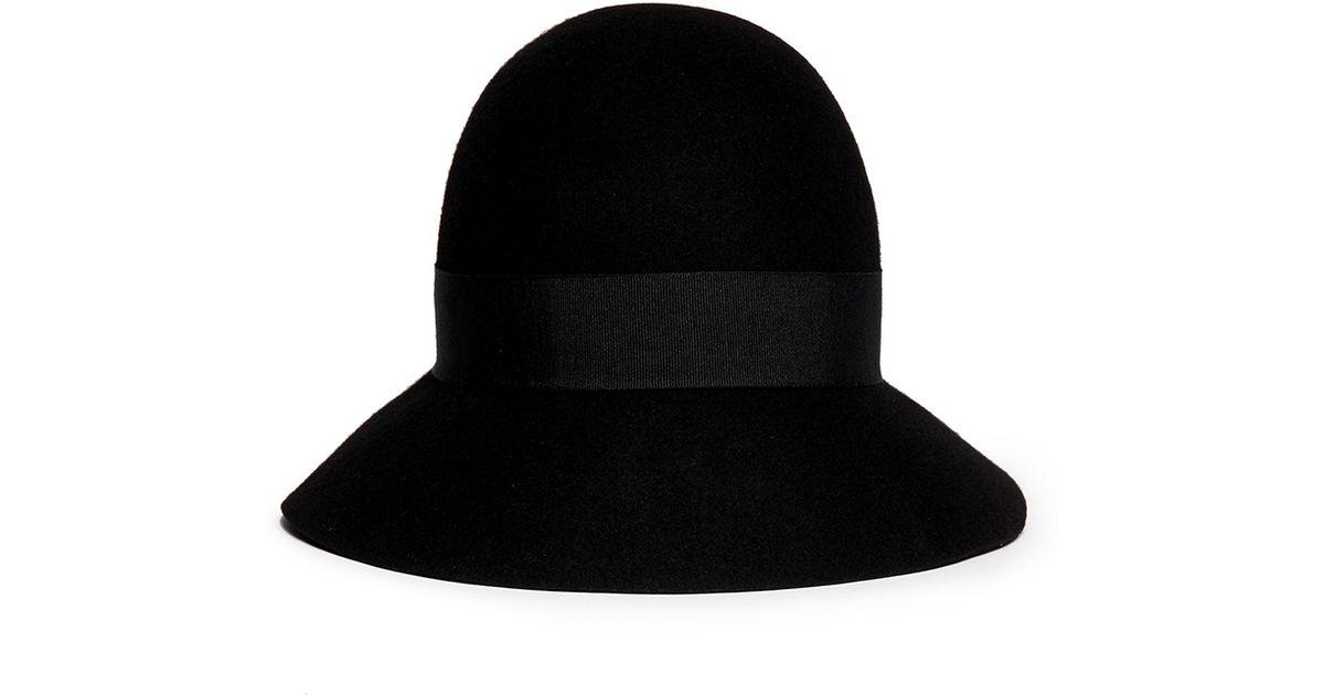 e9633e1aa8752 Lyst - Stella McCartney Wool Felt Cloche Hat in Black