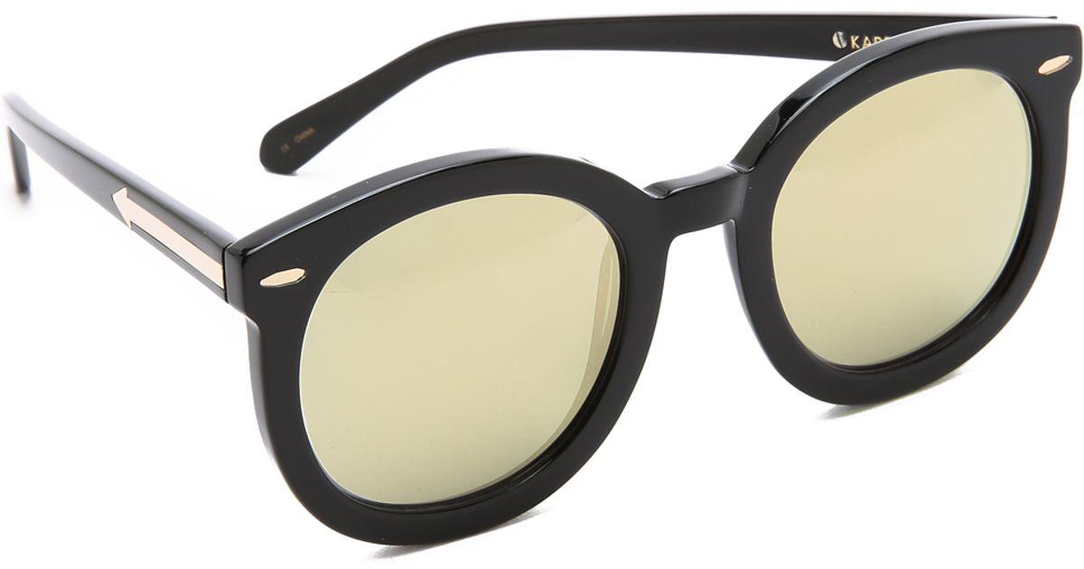 6a11624734c Lyst - Karen Walker Superstars Super Duper Strength Sunglasses - Black gold  in Black