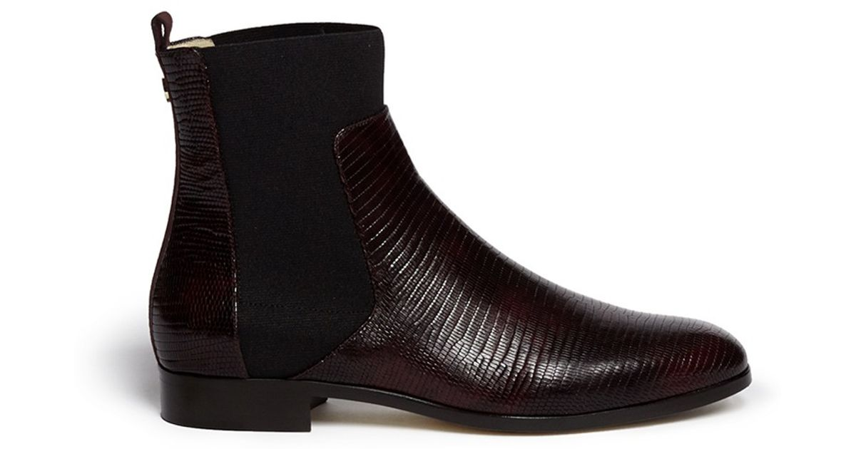 30c734bde5fe ... coupon code for lyst jimmy choo mane lizard embossed leather ankle boots  in black 97326 d2cb6