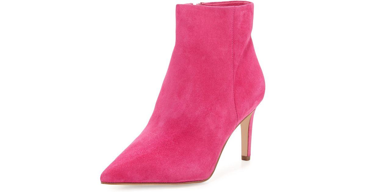70bd61df701ca0 Lyst - Sam Edelman Karen Suede Ankle Bootie in Pink