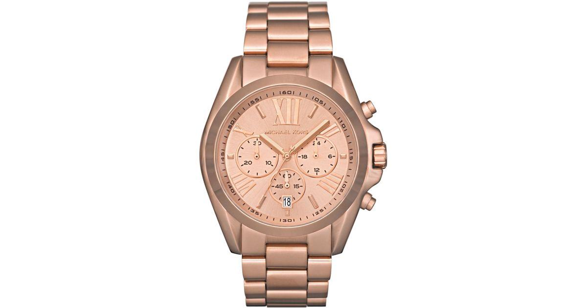 Lyst Michael Kors Women S Chronograph Bradshaw Rose Gold Tone Stainless Steel Bracelet Watch 43mm Mk5503 In Pink