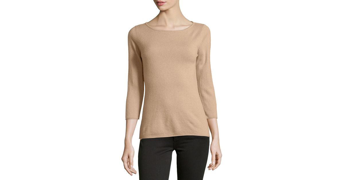 51add3fbb7cc Lyst - Neiman Marcus Cashmere Boat-neck Sweater in Pink