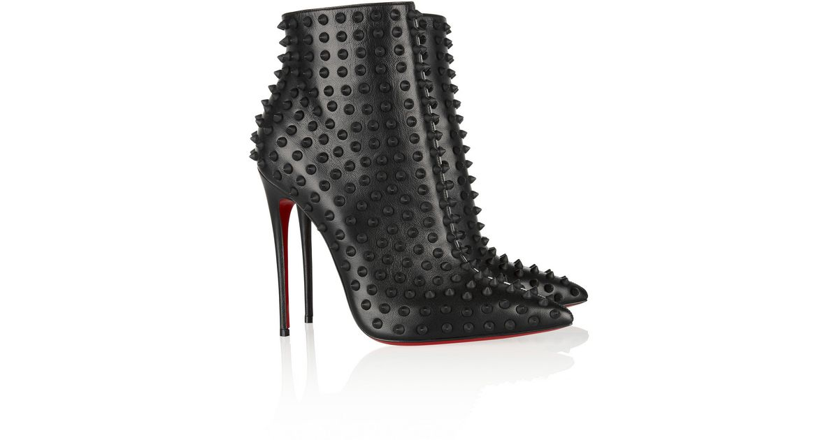 1fd7bb68b02d Lyst - Christian Louboutin Snakilta 120 Spiked Leather Ankle Boots in Black