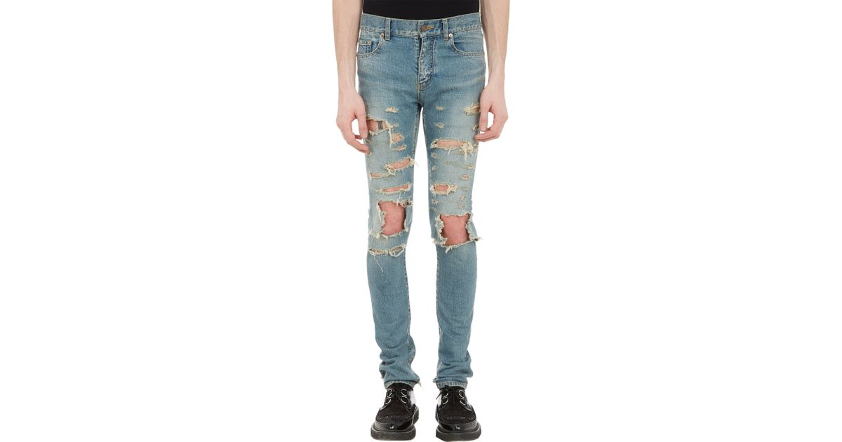 a4aff1be Saint Laurent Ripped Lowrise Skinny Jeans in Blue for Men - Lyst