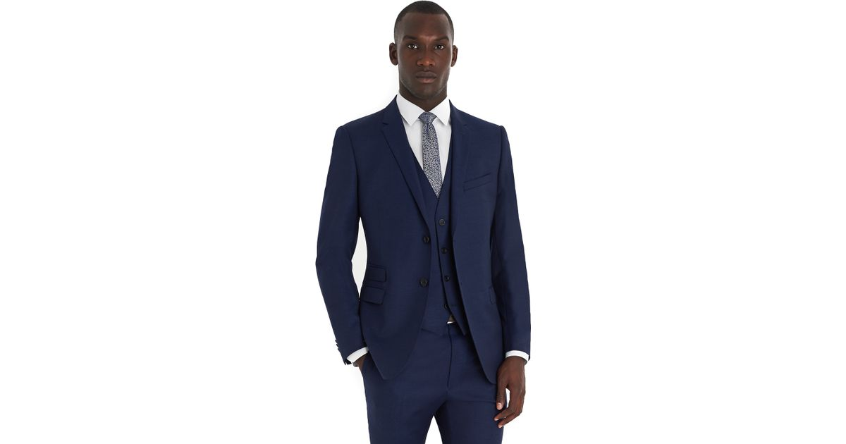 French connection Slim Fit Bright Blue Milled 3 Piece Suit in Blue ...