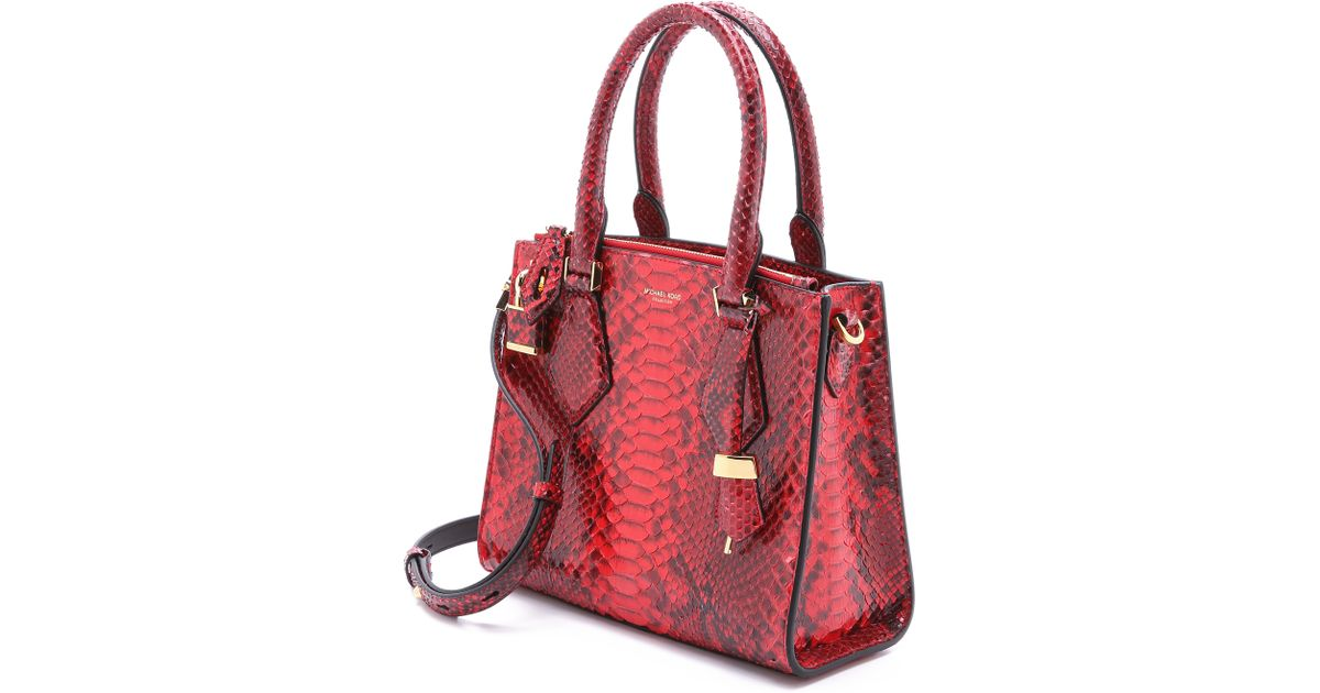 f7f83ae42962 Michael Kors Python Casey Satchel - Crimson in Red - Lyst