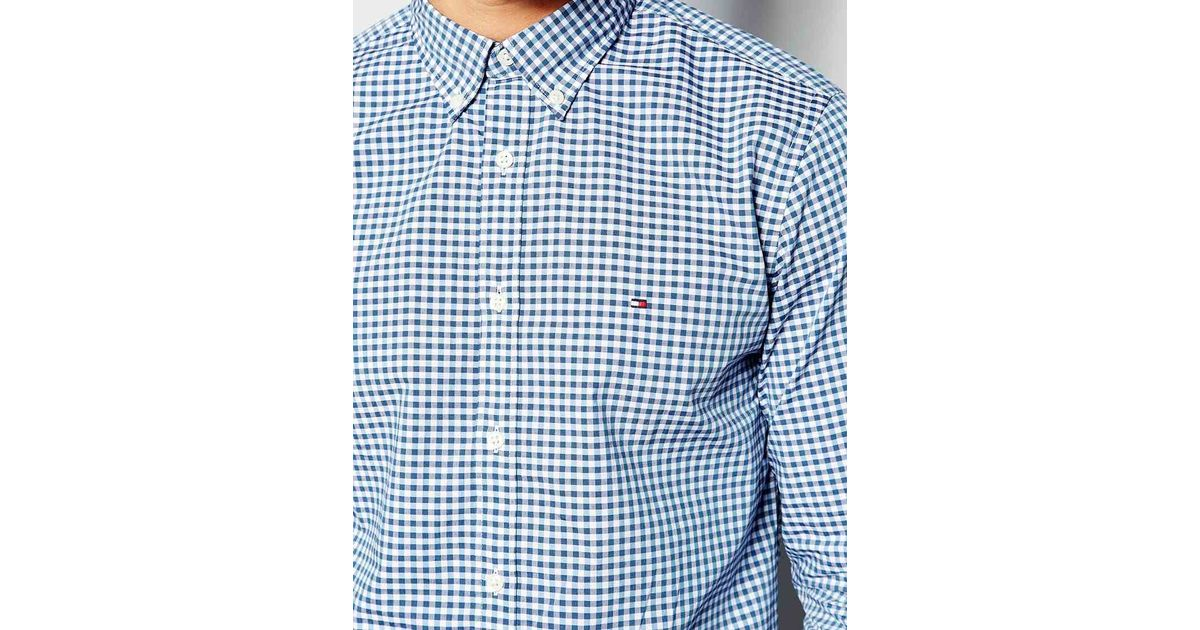 Tommy hilfiger shirt with gingham in blue in blue for men for Tommy hilfiger gingham dress shirt