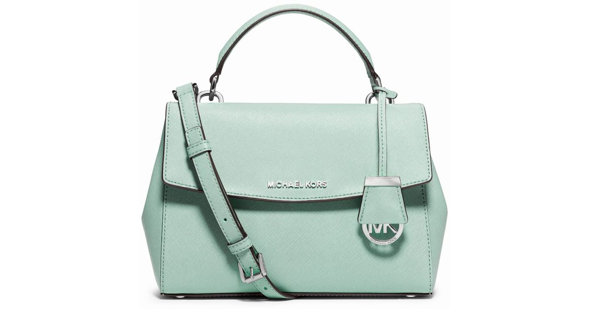 bbe8eeaff80e ... Lyst - Michael Kors Ava Small Saffiano Leather Satchel in Gr ...