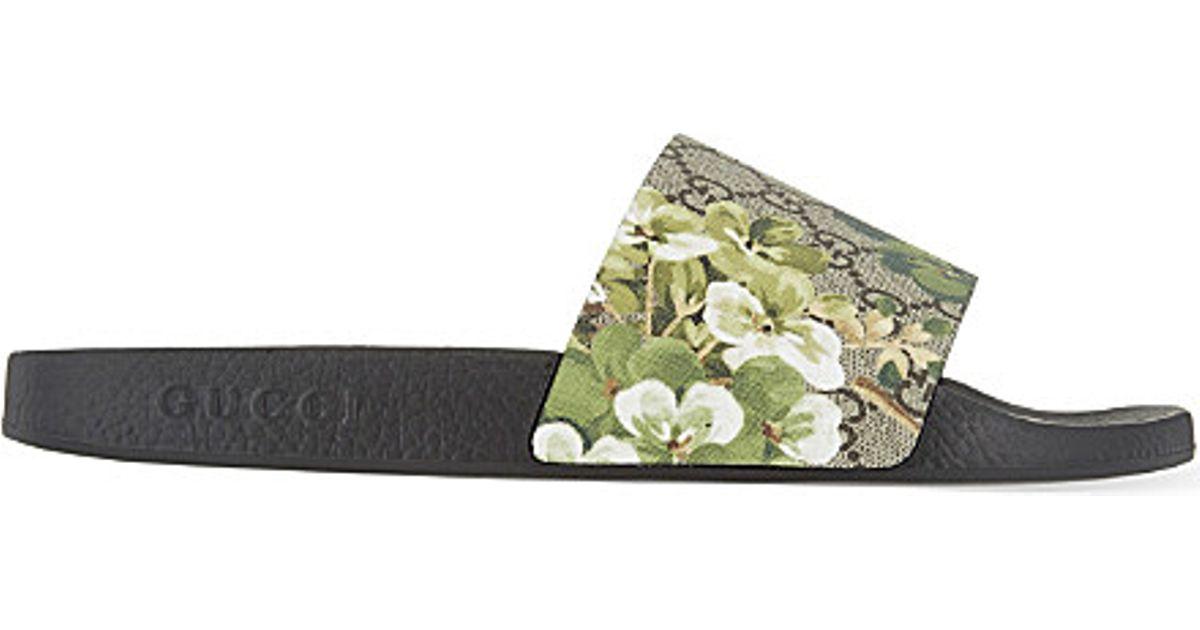 1d5eece6e7cd7 Gucci Pursuit Floral Slider Sandals in Brown for Men - Lyst