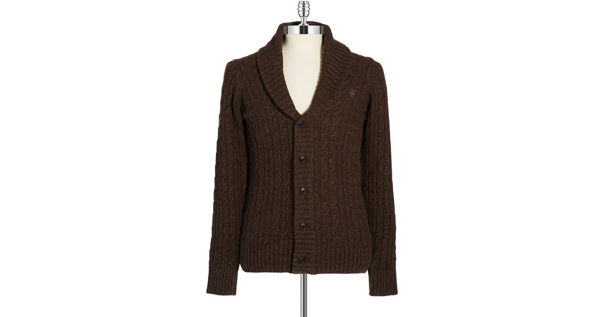 g star raw wool cable knit cardigan in brown for men lyst. Black Bedroom Furniture Sets. Home Design Ideas