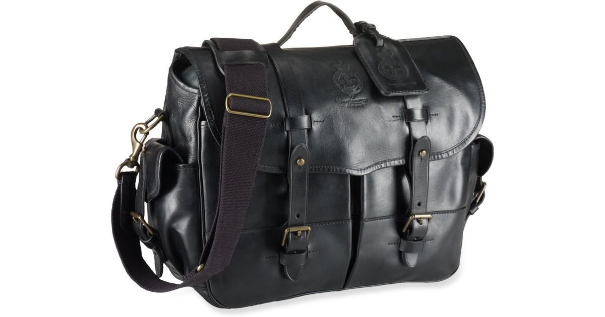 913bd68d8432 Lyst - Polo Ralph Lauren Leather Messenger Bag in Black for Men