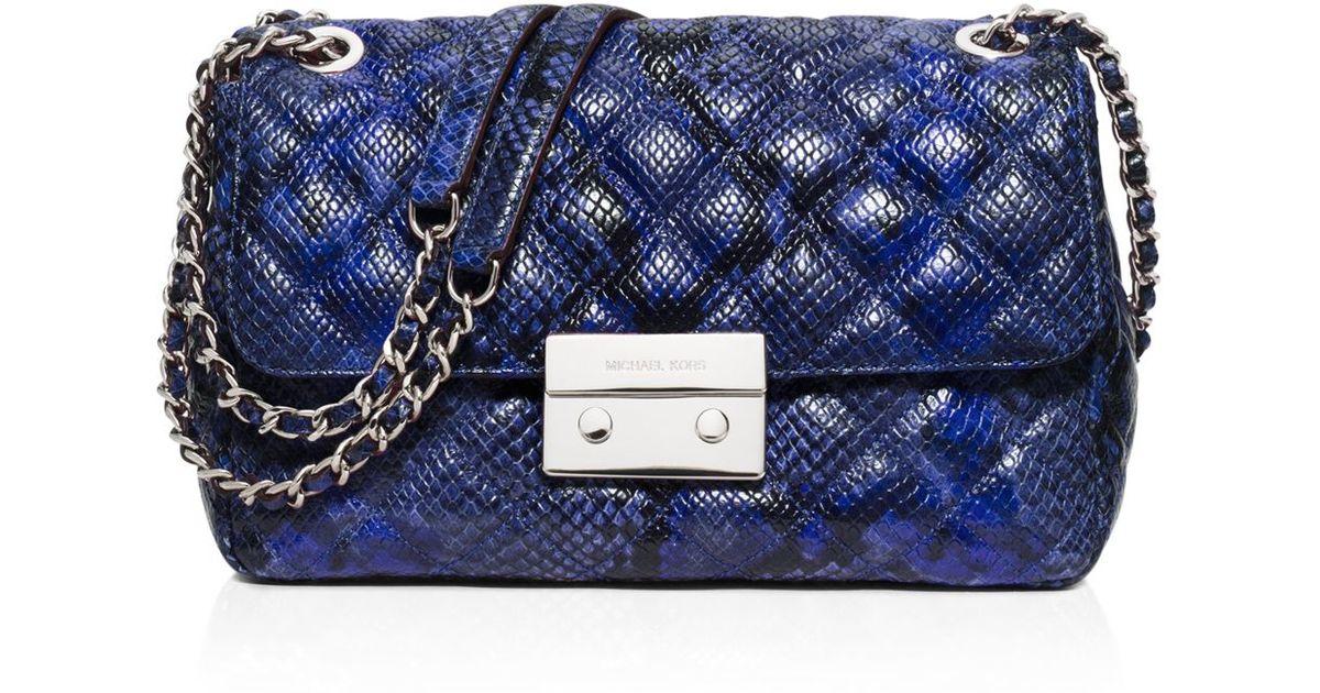 Lyst Michael Kors Large Sloan Quilted Embossed Python Shoulder Bag In Blue