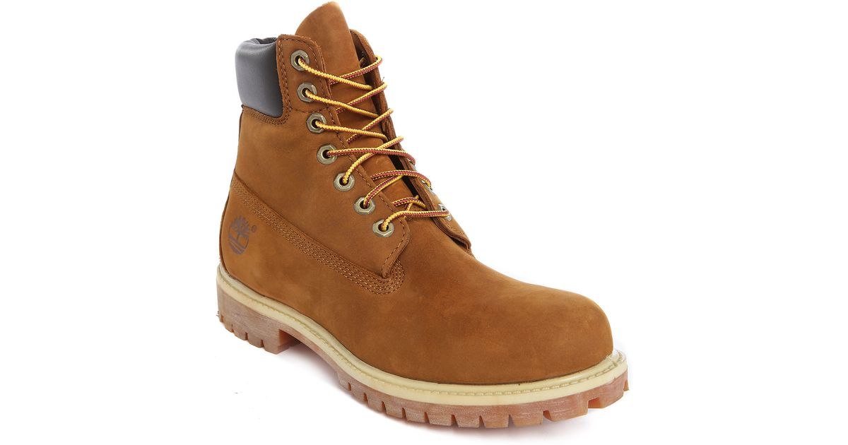 timberland premium nubuck 6 inch rust coloured contrast