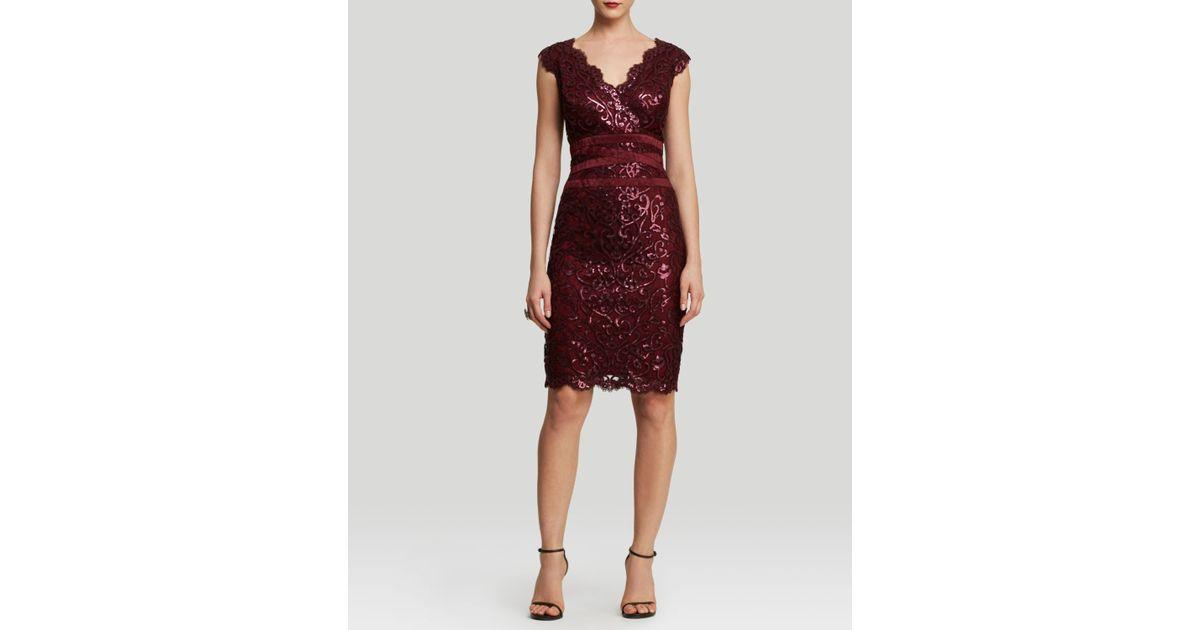 d2c3f45caa4b Tadashi Shoji Dress - Sleeveless Sequin Lace Banded Waist Sheath in Red -  Lyst