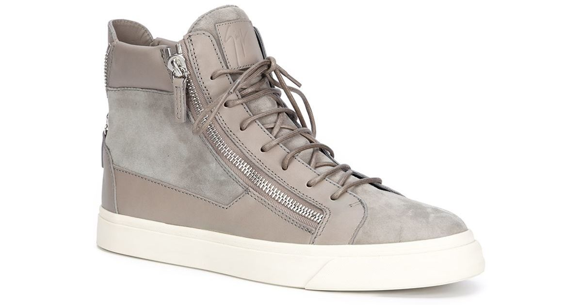 Giuseppe Zanotti Grey Jungle High-Top Sneakers