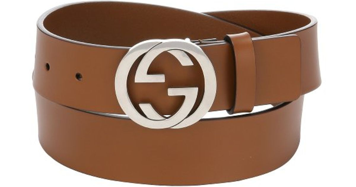 Brown GG Logo Leather Belt Gucci W2ANny