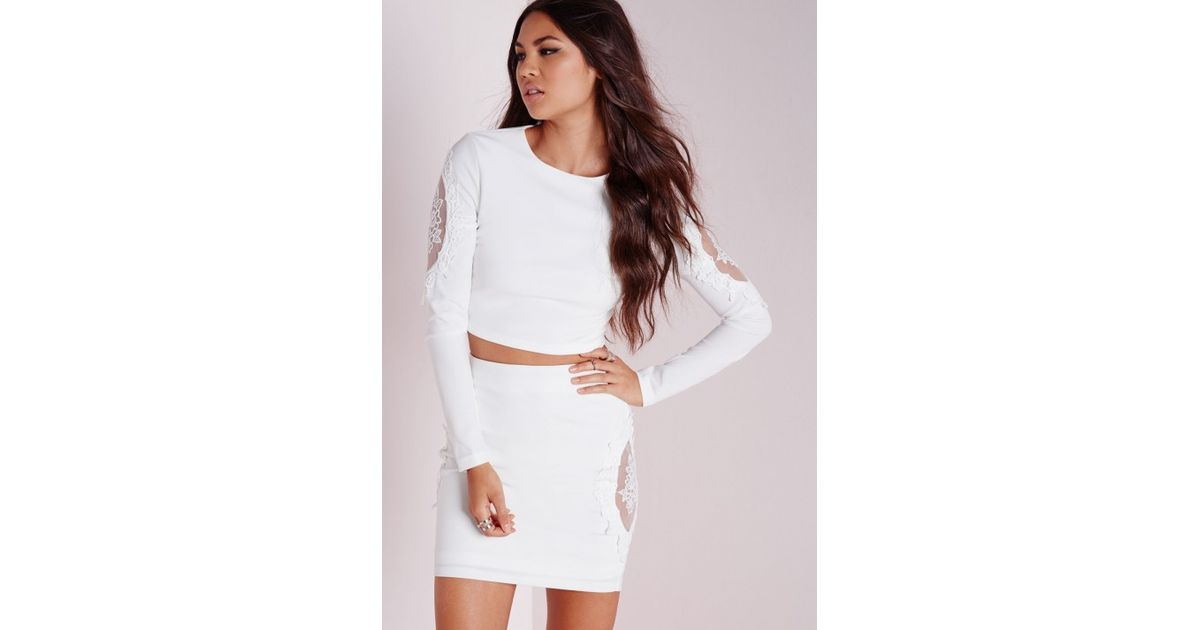 fb0b2299cbeb9 Lyst - Missguided Lace Insert Long Sleeve Crop Top White in White