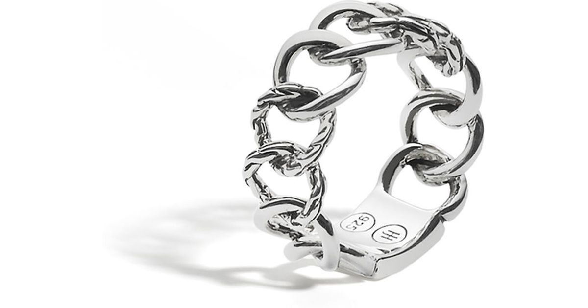 John Hardy Classic Chain 18K & Silver Curb Link Ring JnSSG