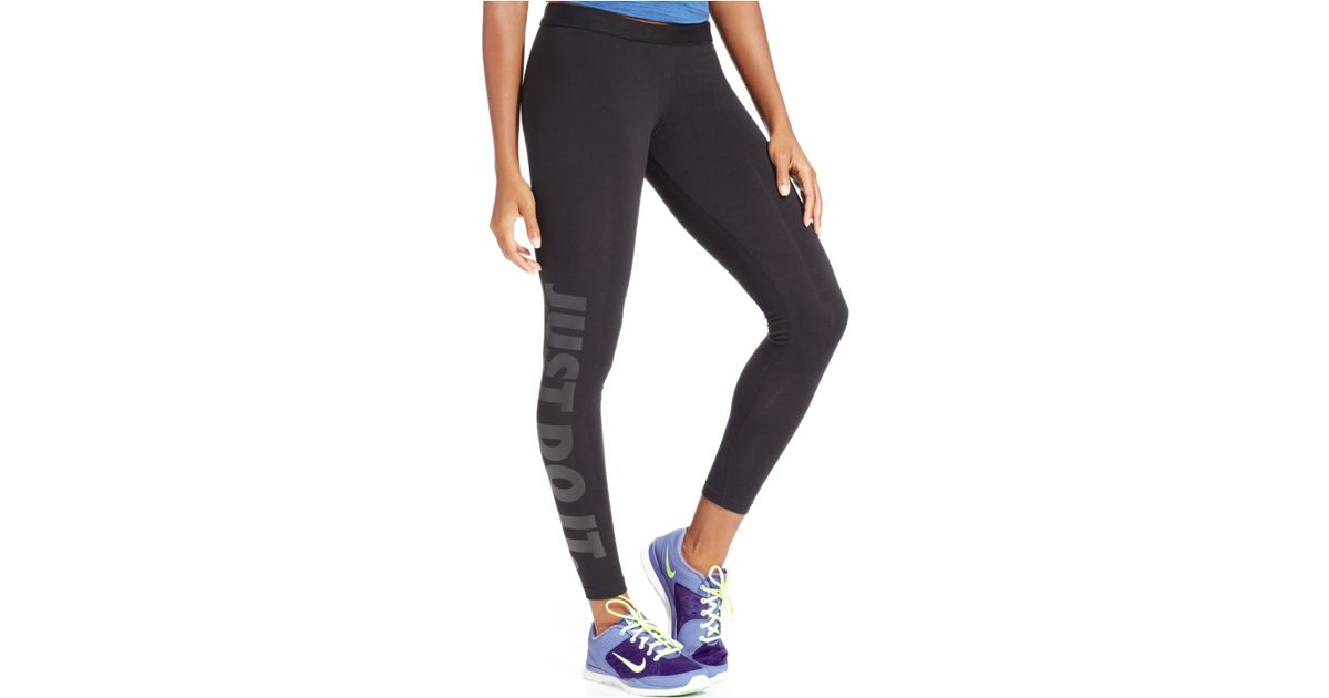 nike leg a see dri fit just do it leggings in black lyst. Black Bedroom Furniture Sets. Home Design Ideas