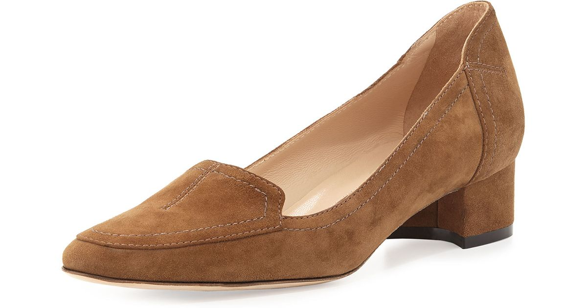 Manolo Blahnik Suede Loafer Pumps