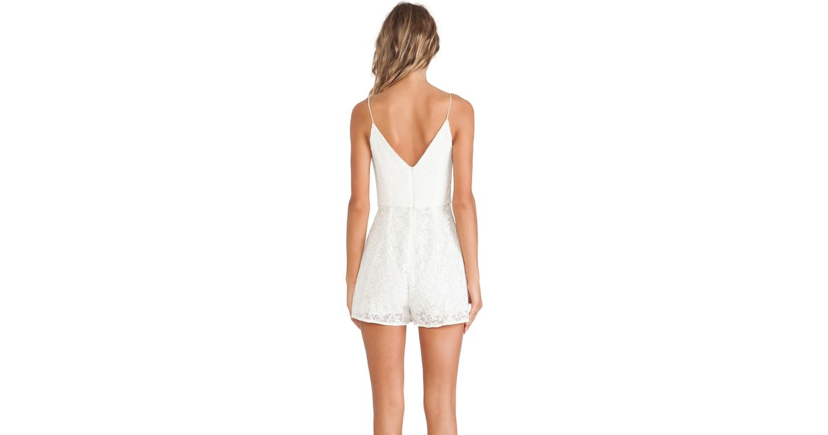 0a1ebc01706 Lyst - Zimmermann Backbeat Embroidered Playsuit in White