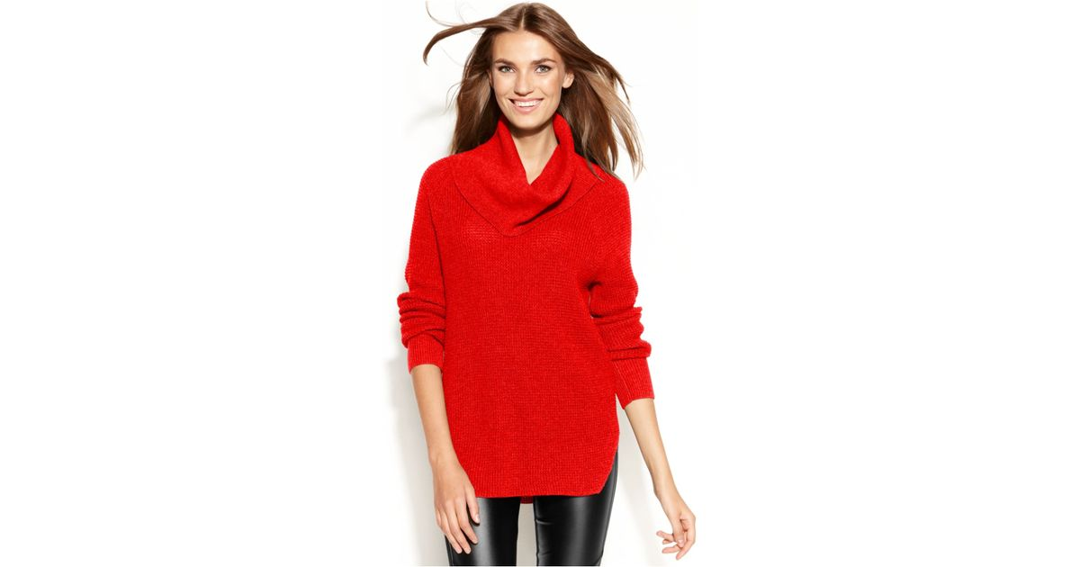 Michael kors Michael Petite Chunky Knit Cowl-neck Sweater in Red ...