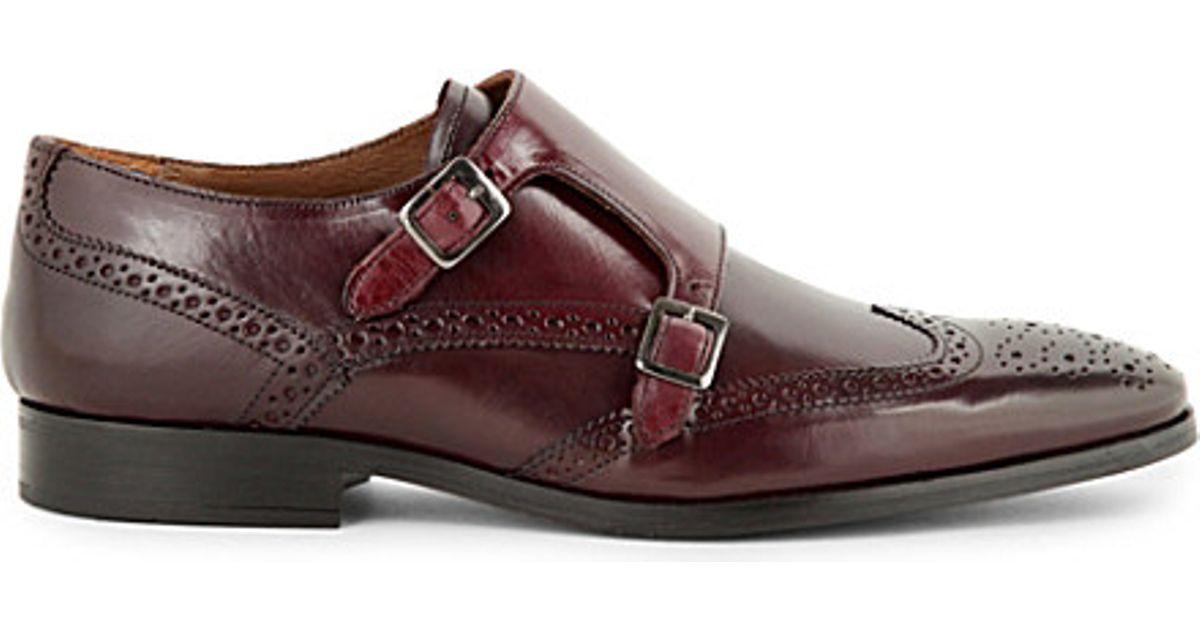 Kurt Geiger Cesare Leather Monk Shoes In Purple For Men