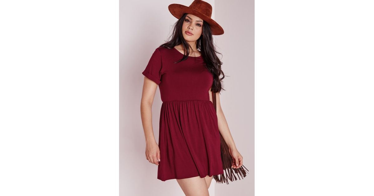 17c7adc08c9 Lyst - Missguided Plus Size Jersey T-shirt Skater Dress Burgundy in Purple