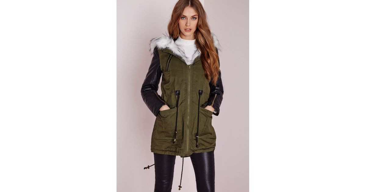 Parka jacket white faux fur hood khaki