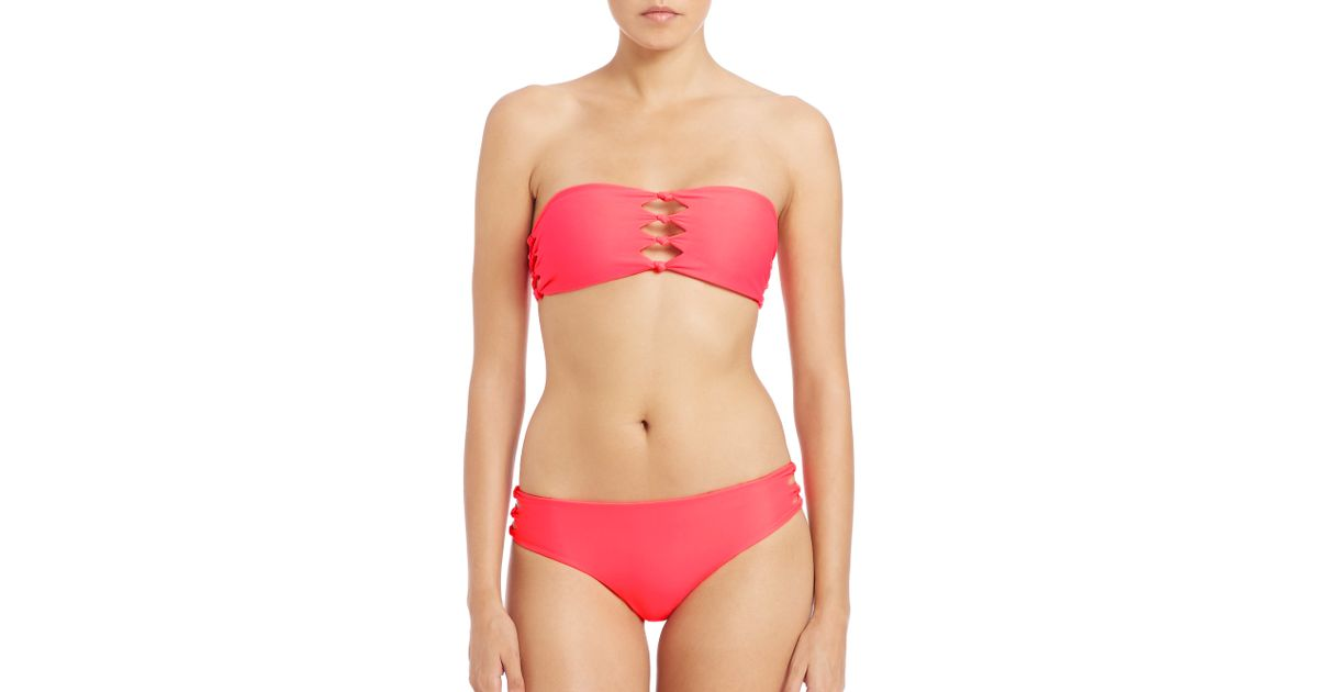 mikoh swimwear monaco cutout knot detail bandeau bikini top in pink lyst