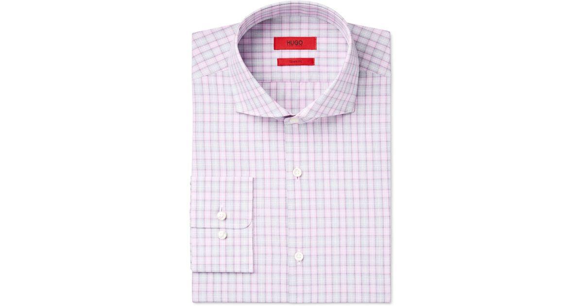 Boss Men 39 S Slim Fit Check Dress Shirt In Pink For Men Lyst