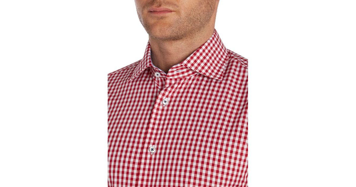 Tommy hilfiger slim fit gingham shirt in red for men lyst for Slim fit gingham check shirt