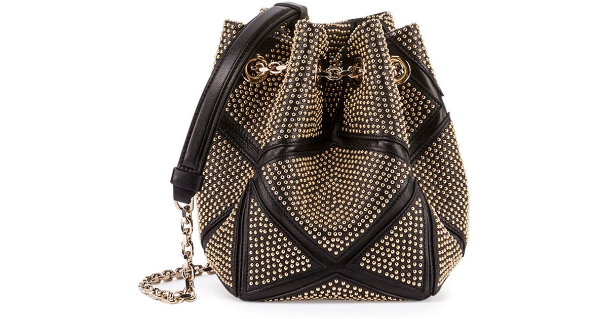 Lyst - Roger Vivier Prismick Studded Bucket Bag in Metallic af8d57f7c1757