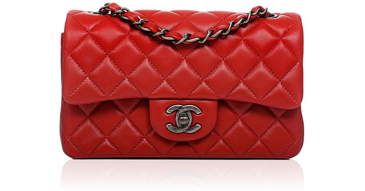 Lyst Madison Avenue Couture Chanel Red Quilted Lambskin Small Classic 2 55 Shoulder Flap Bag In
