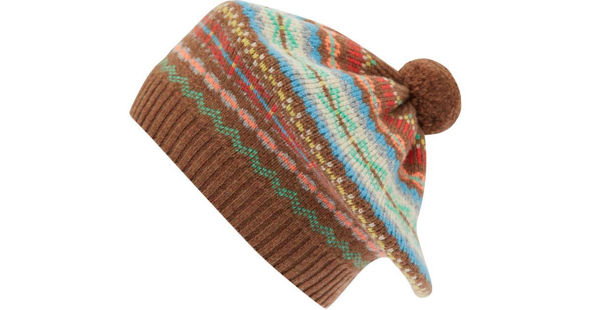 Lyst - Jo gordon Brown Knit Fair Isle Tammy Hat in Brown for Men