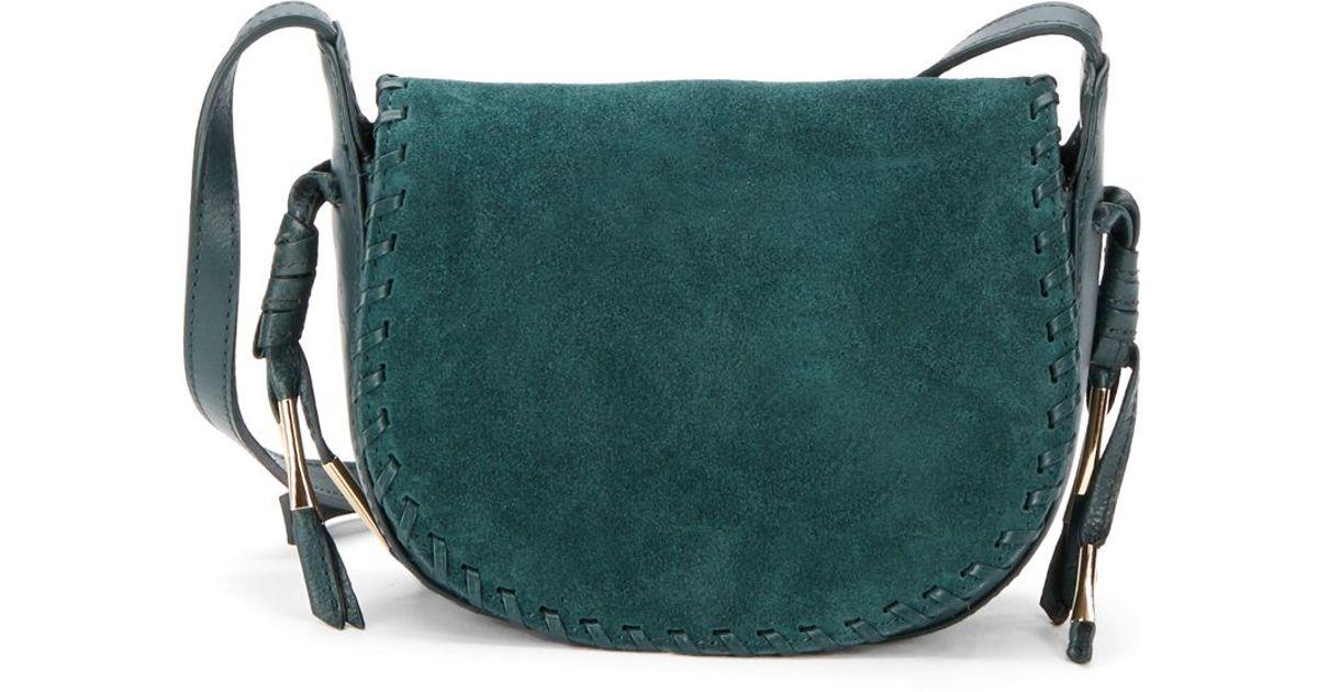 Lyst Kelsi Dagger Brooklyn Tavi Suede Leather Saddle Crossbody Bag In Green