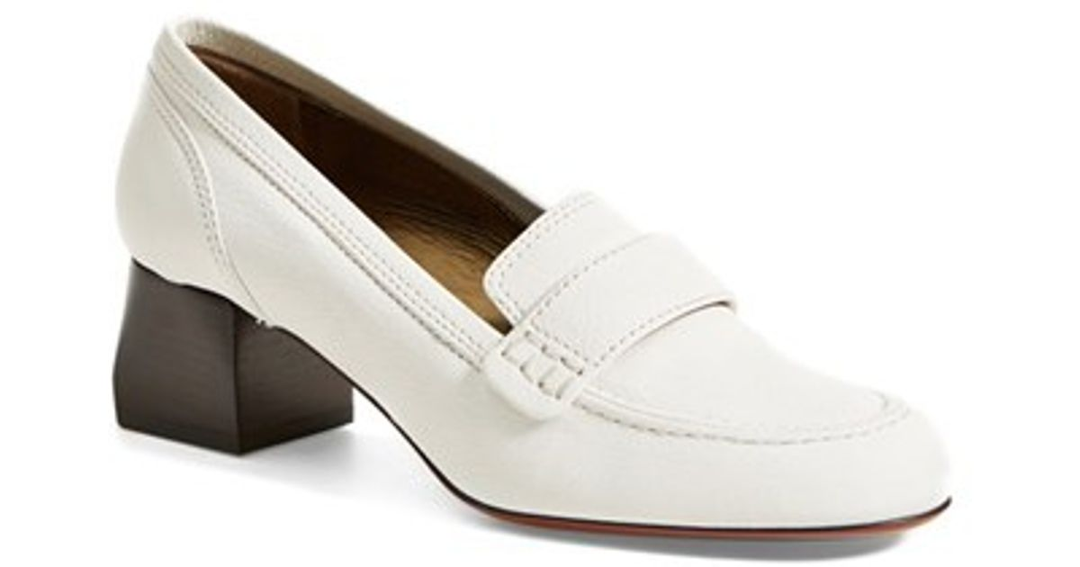 12a5cc9a7e8 Lyst - Lanvin Square Heel Loafer in White