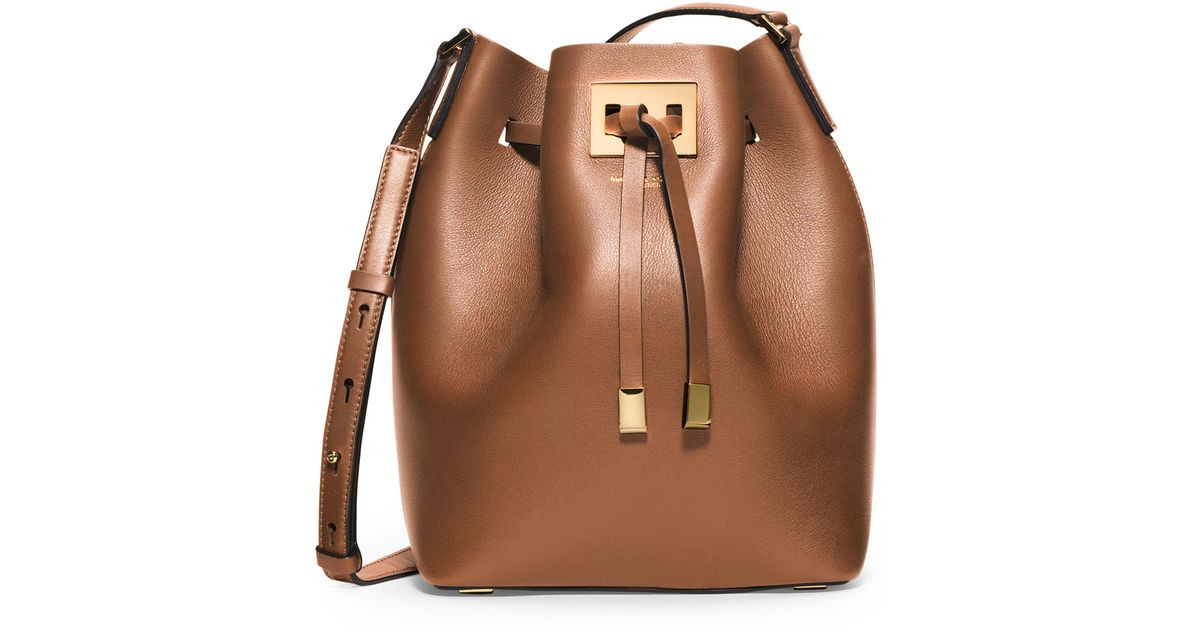 b6bf762aaffcf0 ... clearance lyst michael kors miranda medium leather bucket bag in brown  5521a c63bf