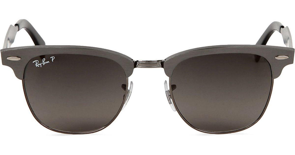 39ae6433ca9 Ray-Ban Clubmaster Aluminium Sunglasses in Brushed Gunmetal with Black  Polarised Lenses 49 in Metallic for Men - Lyst