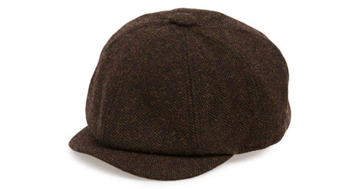 cf46c08058e2fb TOPMAN 'baker Boy' Herringbone Driving Cap in Brown for Men - Lyst