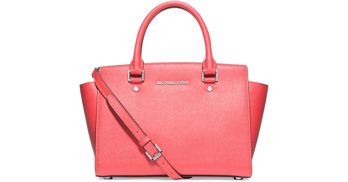 94e66bedf9c8 MICHAEL Michael Kors Selma Medium Saffiano Satchel Bag in Pink - Lyst