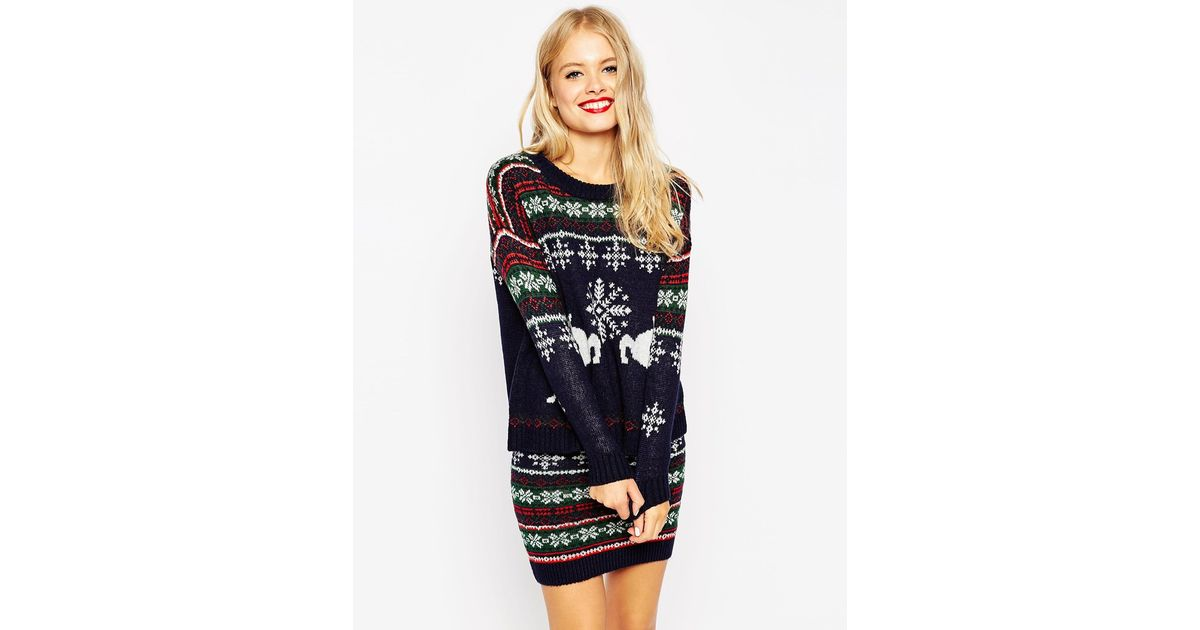 Lyst - Asos Co-ord Christmas Jumper In Reindeer Fair Isle in Blue