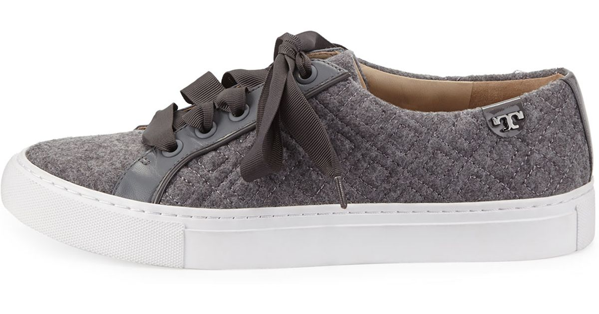 340f7d0ab714ad Lyst - Tory Burch Marion Quilted Fleece Sneakers in Gray